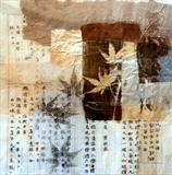 Japan Ephemera 4 by Julia Bond, Artist Print, Collage,glycerene print, found materials.
